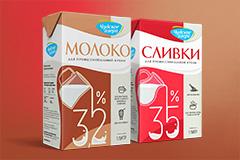 """Ребрендинг упаковок для сливок и молока """"Чудское озеро"""""""