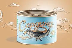 Дизайн этикетки для рыбных консервов Роскон